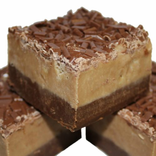 Rich chocolate fudge base, topped with fudge mixed with Malteser's - a smooth, creamy and chocolatey filling. Gourmet fudge. Handmade with love.